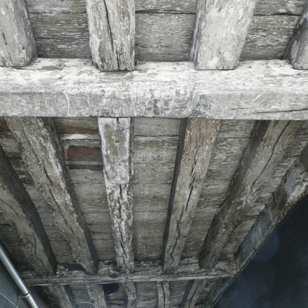 Oak ceiling beams in Listed Building
