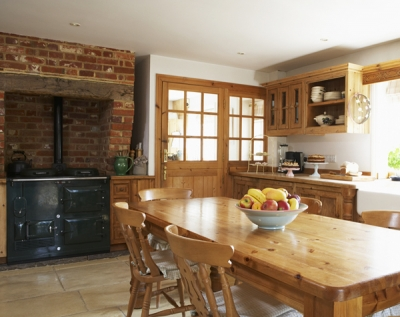 Aga cooker in a country kitchen